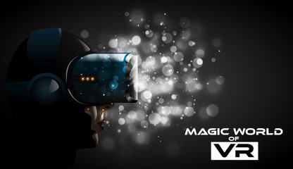 Vector young pretty woman wearing virtual reality he