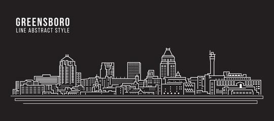 Cityscape Building Line art Vector Illustration design - Greensboro city Wall mural