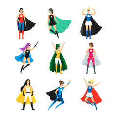 Cartoon Female Superhero Characters Icon Set. Vector