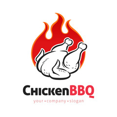 Grilled Chicken vector logo design template with flames for food shops and restaurants. Barbecue concept in cartoon line art style sign, symbol. Vintage illustration.