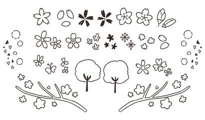 かわいい桜の手描き風アイコンセット(線画・透過)