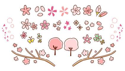 かわいい桜の手描き風アイコンセット(カラー)