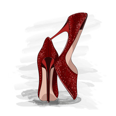 red shiny heels shoes