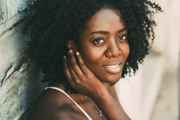 Closeup of Smiling Beautiful Black Woman