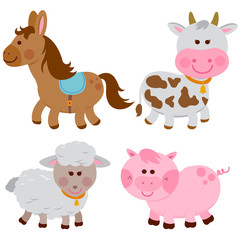 Vector illustration collection of farm animals on white background: A horse, a cow, a sheep and a pig