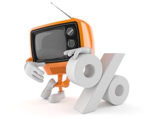 Retro TV character with percent symbol