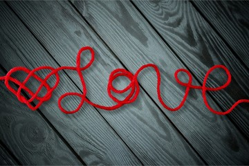 Red rope in heart shape
