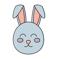 cute bunny face cartoon funny animal vector illustration