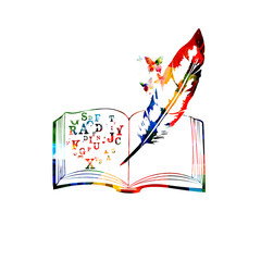 Colorful open book with alphabet letters vector illustration. Creative writing, course, training, education concept background