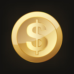 Gold dollar coin. Vector illustration