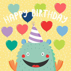 Hand drawn birthday card with cute funny monster in a party hat, with balloons, typography. Vector illustration. Isolated objects. Design concept for children, birthday celebration.