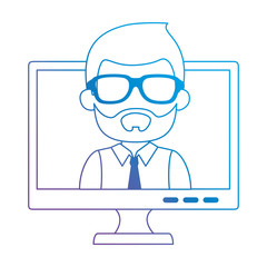 monitor computer with businessman vector illustration design
