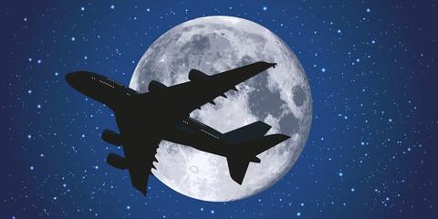 avion - passager - vol - voyage - lune - vacances - clair de lune - nuit - transport aérien - avion de ligne