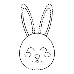 cute bunny face cartoon funny animal vector illustration sticker design