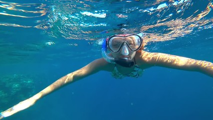 Wall Mural - girl and snorkeling