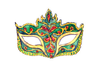 Green carnival mask with golden decoration and red gemstones, isolated hand painted watercolor illustration