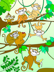 Family of monkeys on a tree color book for children cartoon vector