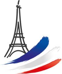 Eine Reise nach Frankreich in die Hauptstadt Paris. Eifelturm und die tricolore