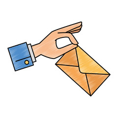 hand with envelope mail vector illustration design