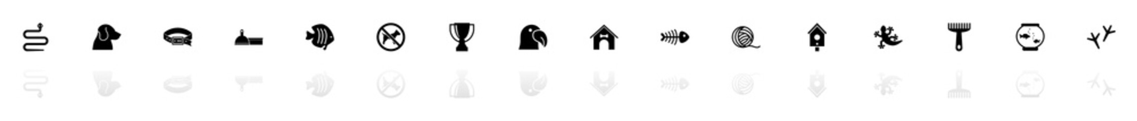 Pets icons - Black horizontal Illustration symbol on White Background with a mirror Shadow reflection. Flat Vector Icon.
