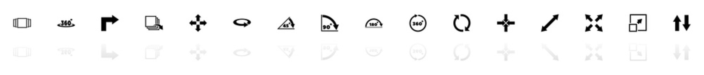 Rotate icons - Black horizontal Illustration symbol on White Background with a mirror Shadow reflection. Flat Vector Icon.