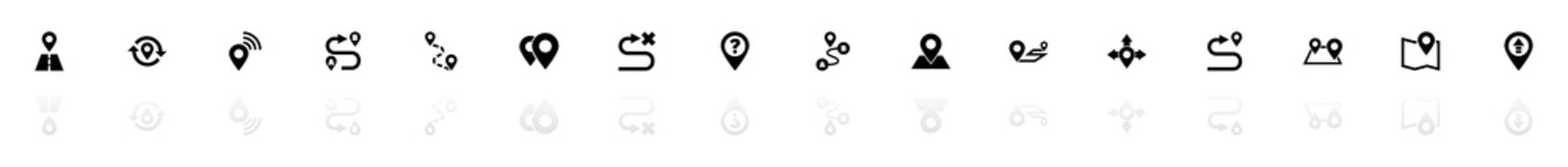Route icons - Black horizontal Illustration symbol on White Background with a mirror Shadow reflection. Flat Vector Icon.