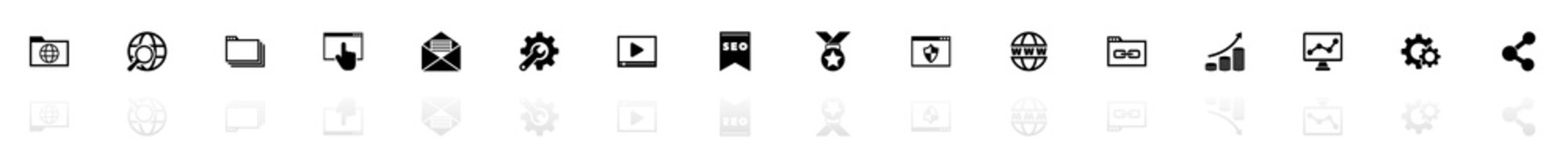 Seo icons - Black horizontal Illustration symbol on White Background with a mirror Shadow reflection. Flat Vector Icon.