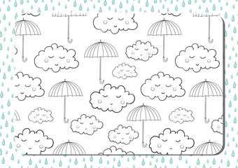 Coloring book. A4 horizontal page with cute cartoon umbrellas and sleeping clouds.
