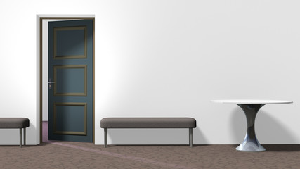 Inerior with round table, two backless upholstered benches, white wall, brown floor with crackle pattern, and open door on the left. Horizontal 16:9 interior 3d render.