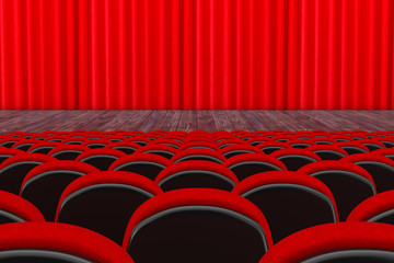 Rows of Red Cinema or Theater Seats in front of Cinema or Theater Scene with Red Curtain. 3d Rendering
