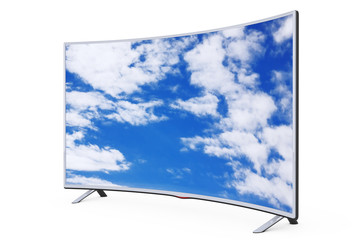 Curved Smart LCD Plasma TV or Monitor with Sky View. 3d Rendering