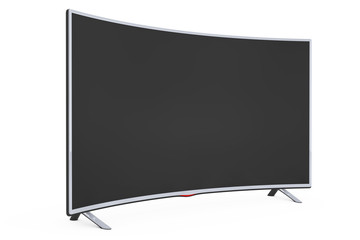 Curved Smart LCD Plasma TV or Monitor. 3d Rendering