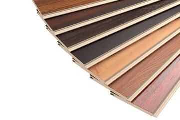 New Laminate Parquet Floor Planks of Different Colors. 3d Rendering