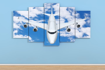 Airplane in the Sky Poster in Empty Room on a Blue. 3d Rendering