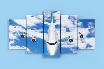 Airplane in the Sky Poster on a Blue. 3d Rendering