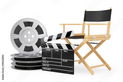 Cinema Industry Concept  Director Chair, Movie Clapper and