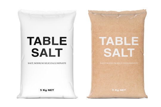 Bags of Table Salt. 3d Rendering