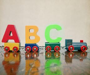 ABC  wooden lettes train