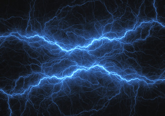 Blue plasma electrical lightning, abstract energy