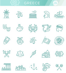 Greece line icon set.Vector