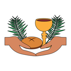 catholic tradition hand bread cup grail and palm branch vector illustration