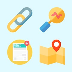 Icons set about Seo with newspaper, search, link, location and map