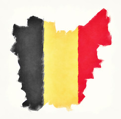 East Flanders watercolor map with Belgian national flag in front of a white background