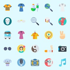 Icons set about Hippies with microphone, shirt, van, nurse, search and pain