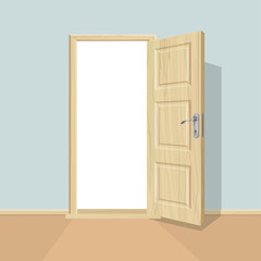 Open door. Realistic wooden door.