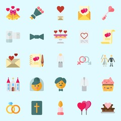 Icons set about Wedding with love letter, bow tie, candle, wedding cake, church and cupcake