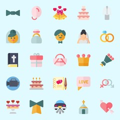 Icons set about Wedding with gift, wedding bells, groom, wedding car, wedding rings and bible