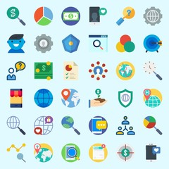 Icons set about Marketing with smartphone, internet, pie chart, money, settings and worldwide