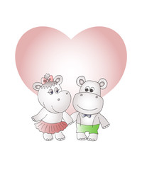 Girl and boy funny hippopotamuses and heart speech bubble.