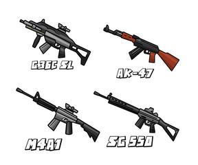 assault riffle weapon set cartoon design